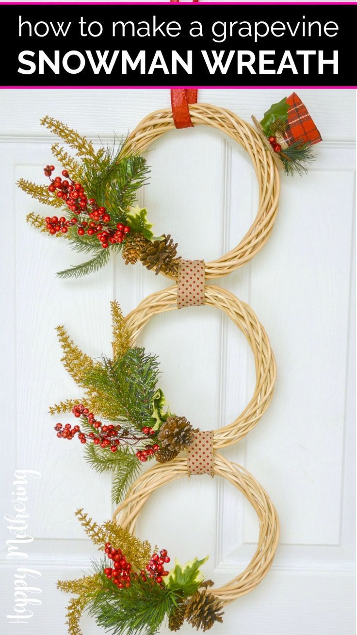 How To Make A Grapevine Snowman Wreath Dollar Store Crafts Snowman Wreath Diy Wreath