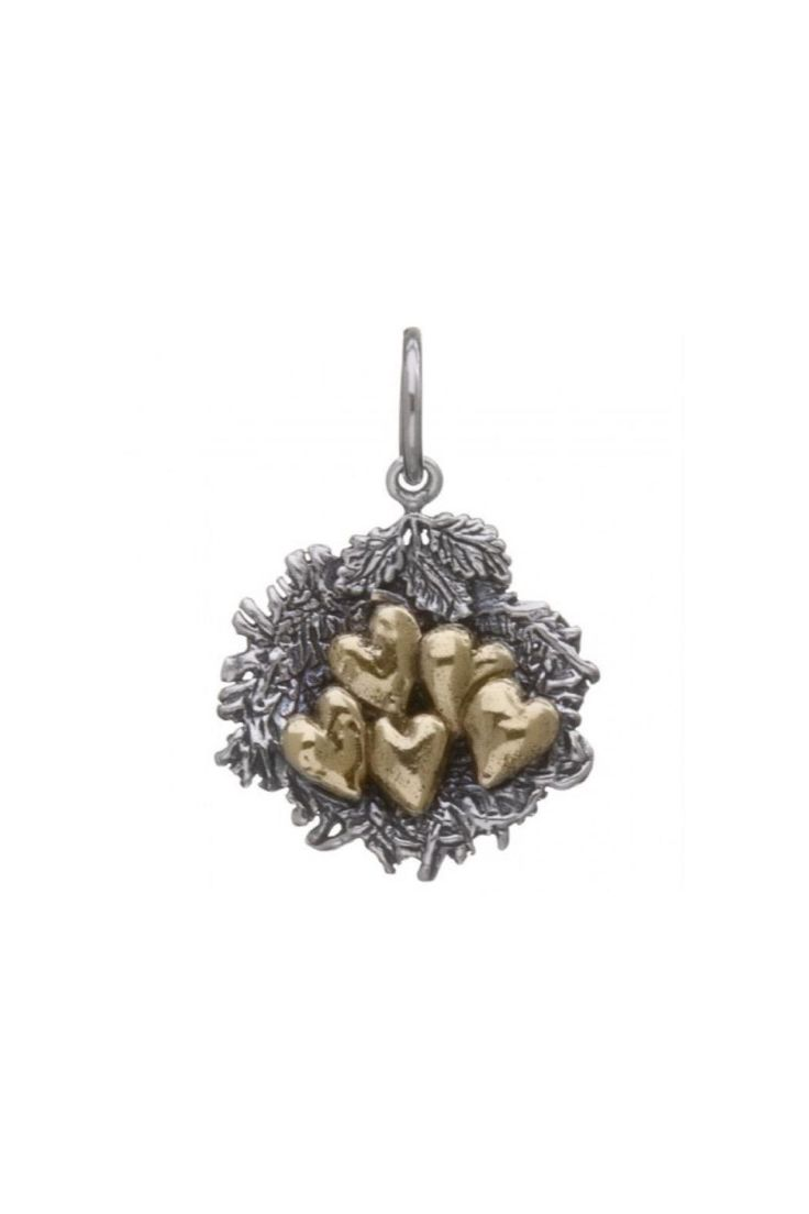 This Waxing Poetic Bundle of Love Nest charm features 4 gold hearts, one for each bundle of love in a home. The perfect gift for a new mother.    The charm is 7/8''.   Jewelry Charm by Waxing Poetic. Accessories - Jewelry Nebraska
