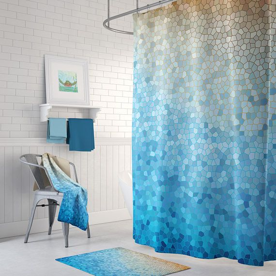 Blue And Gold Mosaic Shower Curtain Set Sunny Day Happy