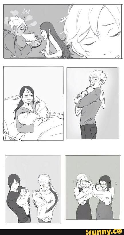 Picture 1:  Sarada(smiling): Boruto? Boruto(eating ramen):yeah? Sarada(fully smiling): I'm pregnant. [Boruto spits out his ramen]  | Picture 2:  Sarada(happily and tired): Boruto, don't you want to come meet your baby girl Uiri and your son Saboten. | picture 3: Boruto(singing): five ryo for the kunai, seven ryo for lunch, and then ten more for the hokage.