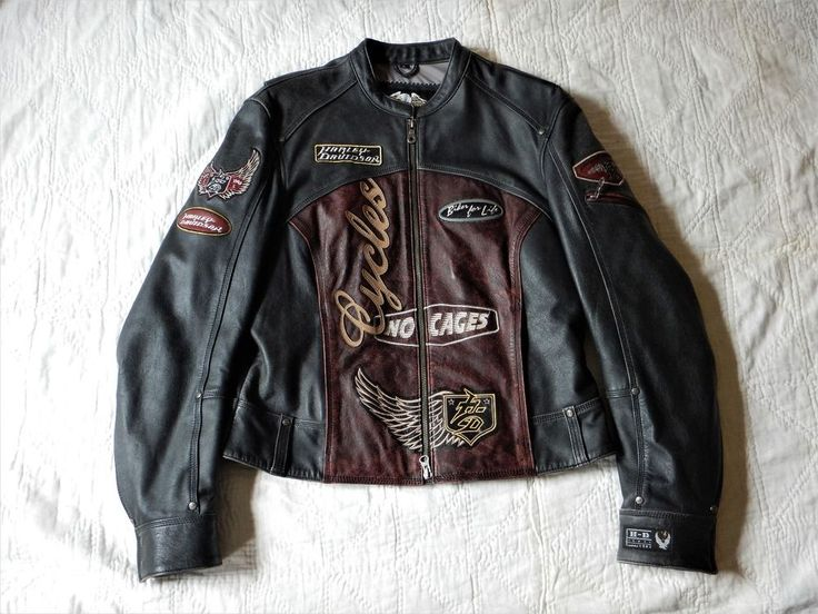 Used Womens Large Rustic Harley Leather Jacket No Cages Bar & Shield
