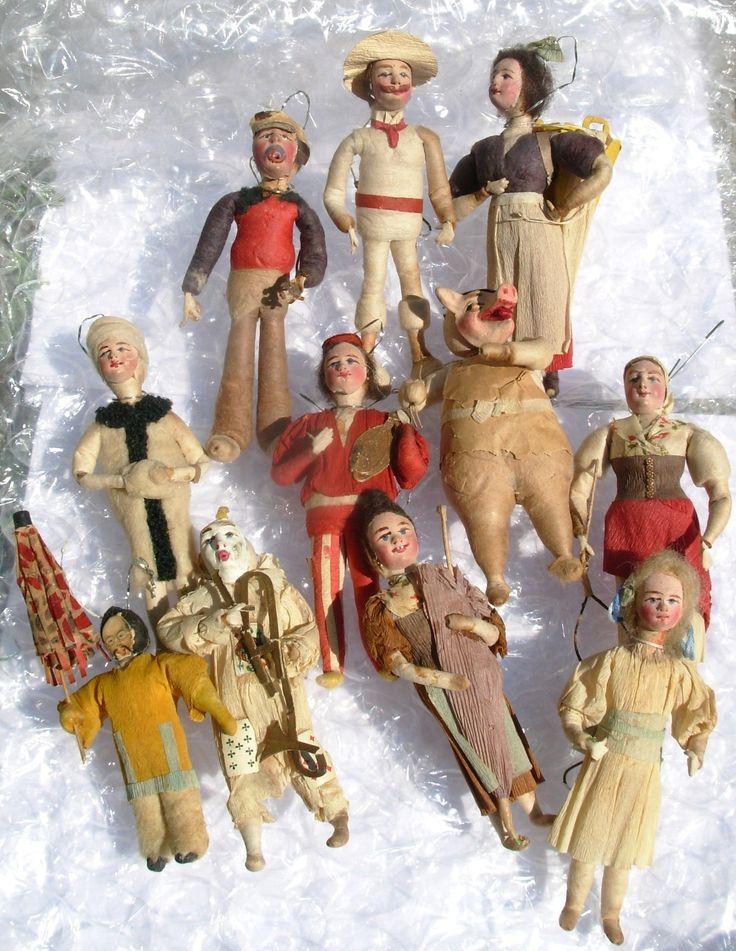 C 1900 Germany Spun Cotton Christmas Ornament Man with Hat Singing   eBay