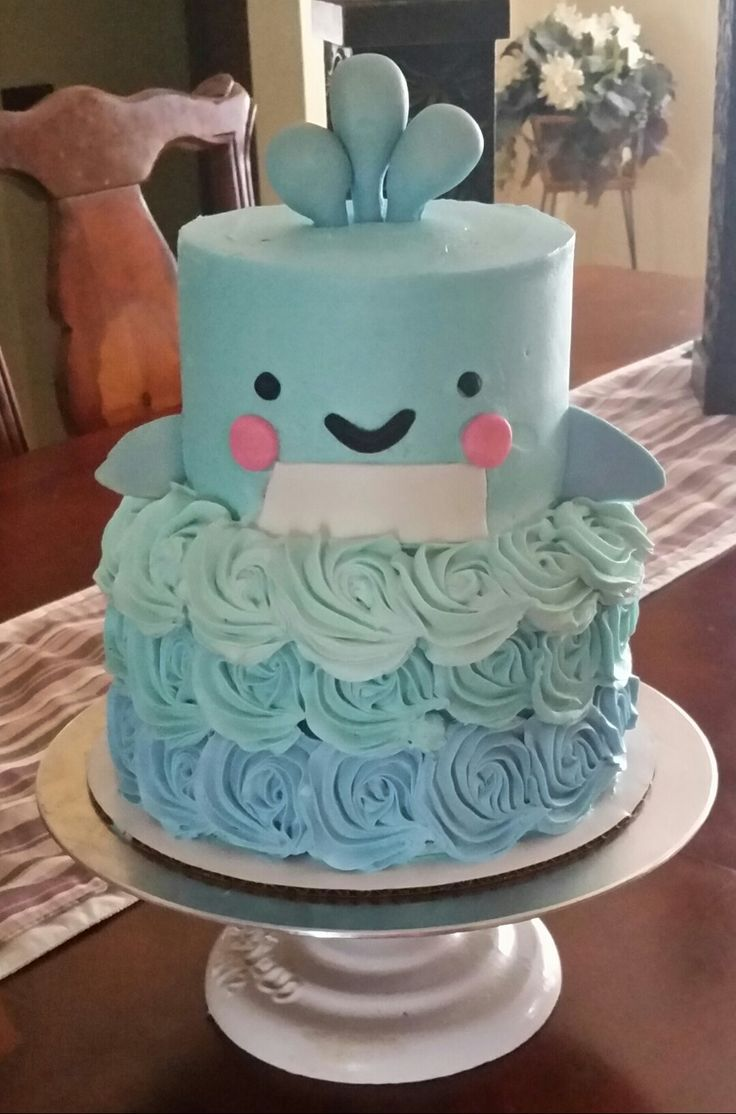 Whale Baby Shower Cake   Under The Sea Theme   Made By SevenEves