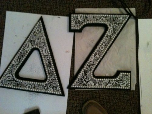 sorority crafts: Crafts Letters, Sorority Crafts, Crafty Letters, Lace Letters, Sorority Letters, Delta Zeta, Pearl Letters, Wooden Letters, Craft Ideas