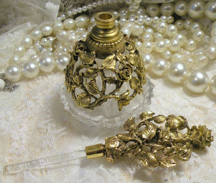 Vintage Perfume Bottle Matson Gilt Brass Ormolu Filigree. $68.00, via Etsy.