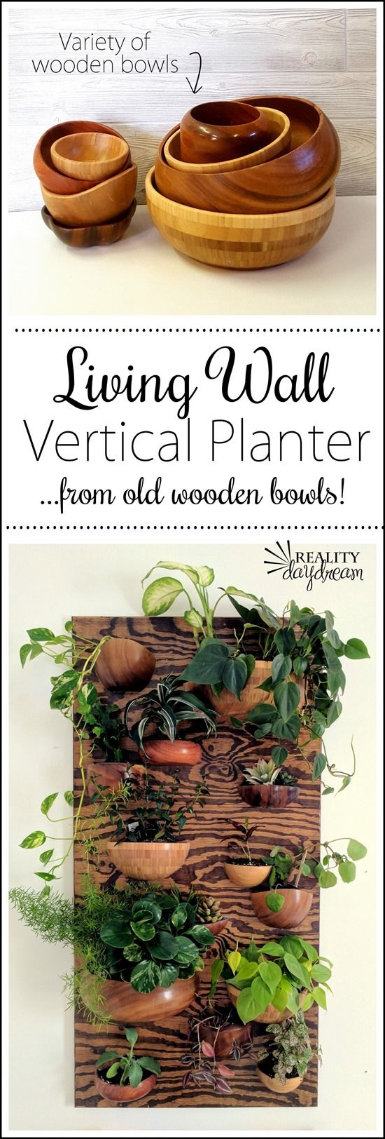 Vertical planter Living Wall made with wooden bowls cut in half! {Reality Daydream}