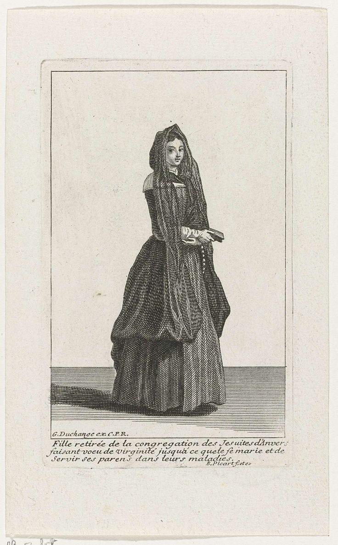 Bernard Picart   Jong meisje uit de gemeente van Antwerpse Jezuïten voordat ze in het huwelijk treedt, Bernard Picart, 1704   Figuur in eigentijds kostuum. In de marge een drieregelig onderschrift in het Frans.
