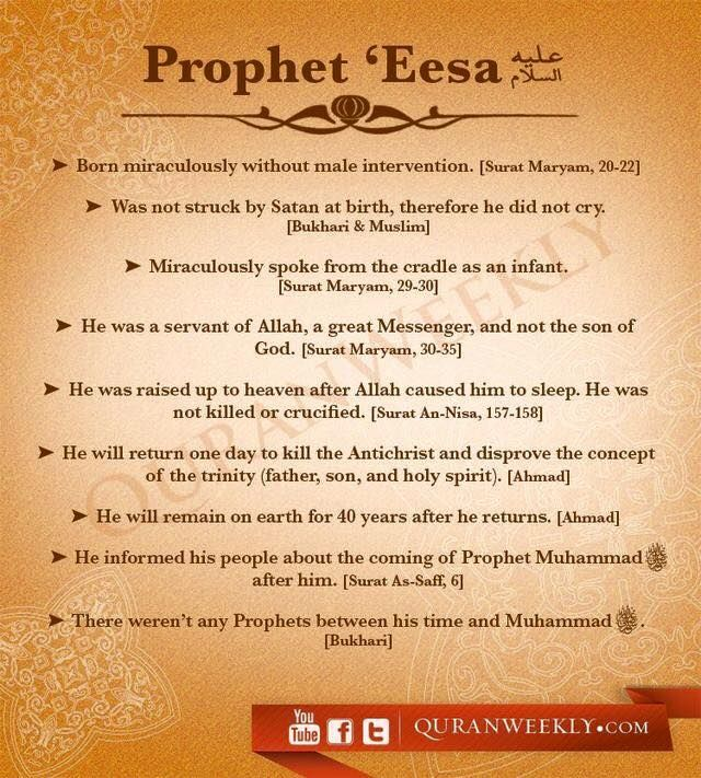 Facts about Prophet Eesa (Jesus, peace be upon him) found in the Quran.   #Jesus #Prophets #Quran #Islam