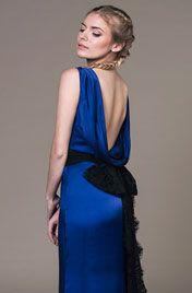 Abby evening gown- Royal blue organic silk with a low back by eco bridal designer Sanyukta Shrestha.