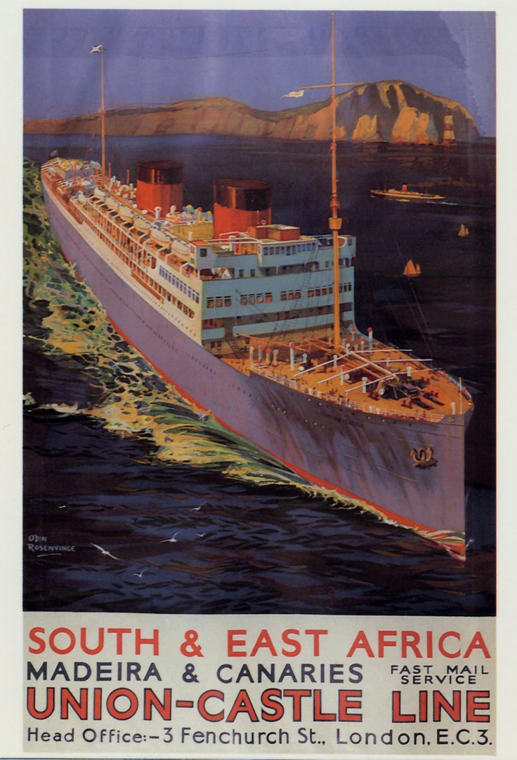 Union Castle Line to East Africa Vintage travel posters