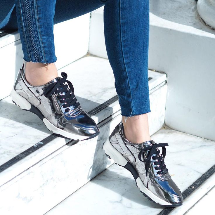 Christina Hauck (@chrissabella27)   Fashion's obsession with trainers has yet to abate and the designers at Carvela Kurt Geiger have developed the fresh metallic Lacrosse trainer in a stunning gunmetal silver colourway. Finished with quirky rubber contrast sole.