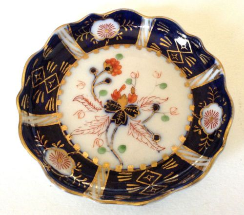 Occupied-Japan-TWO-Small-Hokutochu-Dishes-Cobalt-Blue-Hand-Painted-Gilded