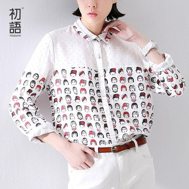 Toyouth 2016 новые ожидаемые хлопка женщины печать в горошек толстовка с длинными рукавами белой рубашке