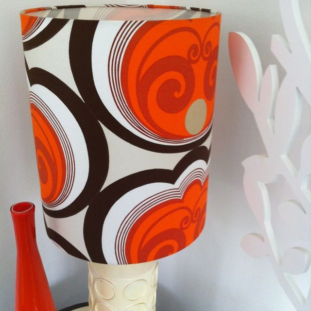 Lamp it up with these Vintage fabrics.  What a great piece of Retro Design Fabric custom made into a Lampshade by www.RetroHomeFabrics.com.au