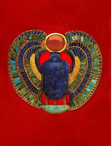 ♔ Ancient Egyptian scarab. (From Connie: the Scarab was considered sacred in Ancient Egypt...or, Kemet....because they believed they rolled the Sun Disk into the sky each day.)