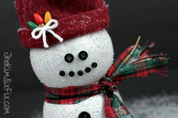 darling snowman from a pom juice bottle, seasonal holiday decor