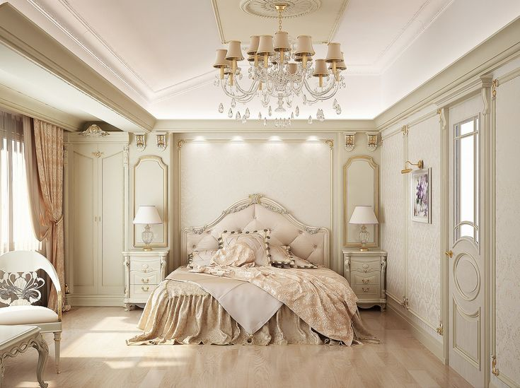 """This French inspired bedroom mixes a little romance with elegant formal accents. The soft peach hues warm the otherwise creamy palette."""
