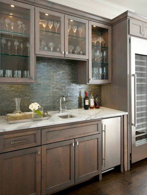 White Granite Countertops Dark Finished Non Glossy Wood Cabinets Stainless Steal Liances Wine Cellar Designbutler Pantrybar Ideaswet