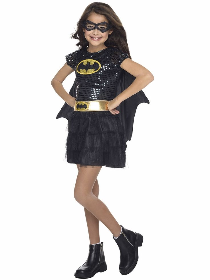 Super cute costumes should be worn all year long, not just on Halloween. The DC Super Heroes Batgirl costume features black sequin bodice w/ Batman logo, faux gold belt w/ Batman emblem, black ruffle skirt, and an attached back cape. Eye mask included.