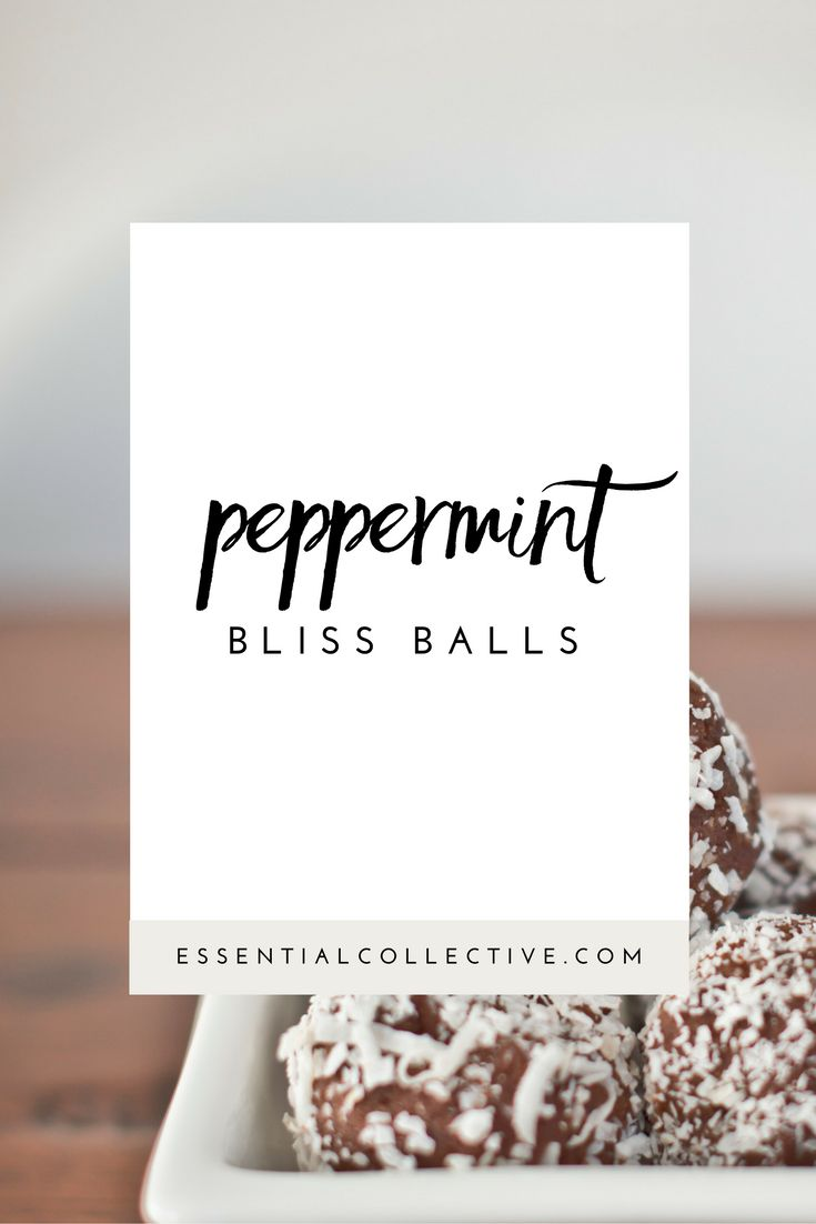 Peppermint Bliss Balls are a delicious raw and vegan treat. Based on my  popular Raw Cacao Bliss Balls recipe, just add a couple of drops of pure  peppermint essential oil for a minty treat!