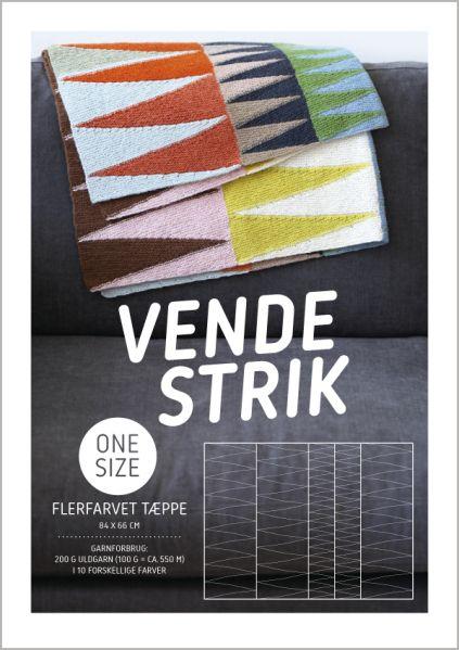 Opskrift på vendestrikket flerfarvet tæppe af Hanne Meedom & Sofie Meedom