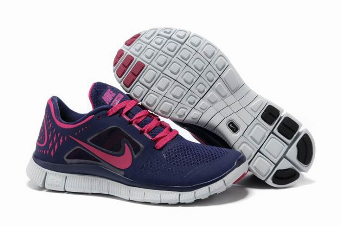 GsvE5 Nike Free Run 3 Women's Running Shoes Night Blue/Pure Platinum-Fireberry