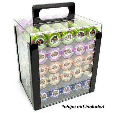 Brybelly Acrylic Poker Chip Carrier (1000-Count) with Chip Trays, Clear