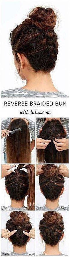 Cool und einfach DIY Frisuren umgekehrt geflochtene Brötchen schnell und einfach Ideen f # Beaut ..., #Braide ...