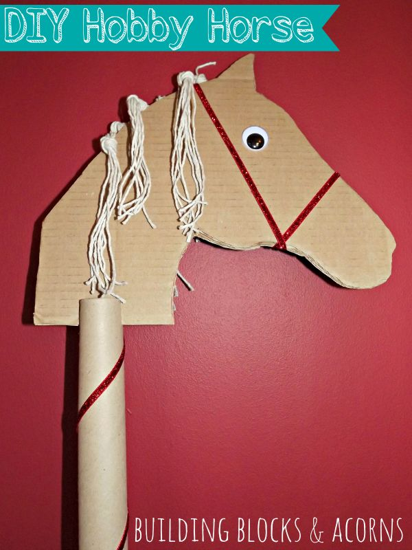 DIY Hobby Horse using everyday materials, from Building Blocks and Acorns