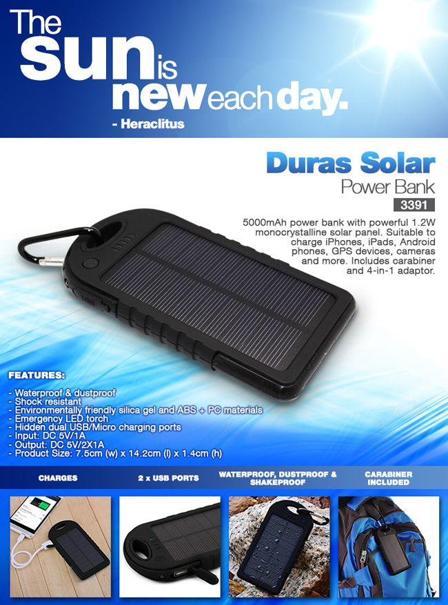 Duras Solar Power Bank - just what what you need ‪#‎PromoGift‬ ‪#‎CorporateGift‬ -useful and much needed by most ‪#‎Thoughtful‬
