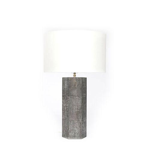 Shagreen Octagon Table Lamp - Cool Grey