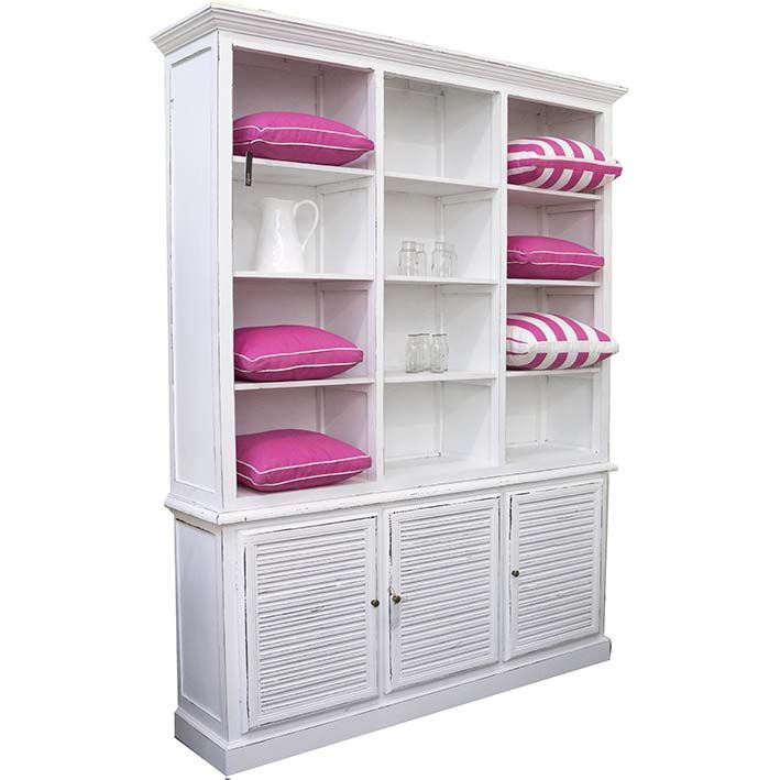Large White Bookcase with Lattice Doors | Urban & Beach Lifestyle Furniture NZ - furniture and accessories for your home