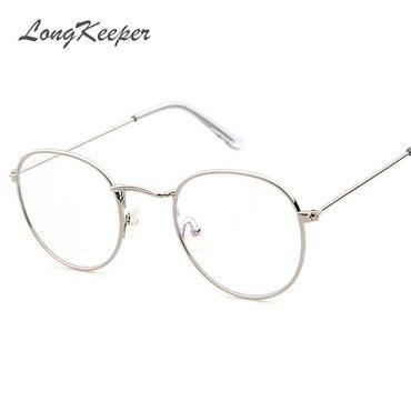 f6f64fc85c LongKeeper Korean Glasses Frame Retro Gold Eyeglass Frame Spectacles Round  Computer Glasses Unisex NO Degrees 3447E