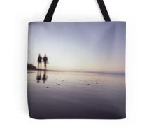 Two people walking on beach on summer evening Hasselblad medium format film analog photograph Tote Bag