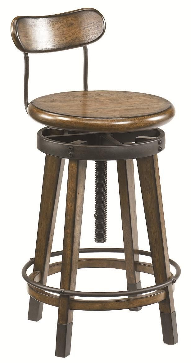Studio Home Urban Weathered Oak Swivel Adjustable Stool By Hammary    Riverview Galleries   Bar Stool Furniture Store NC By Riverview Galleries  Located In ...