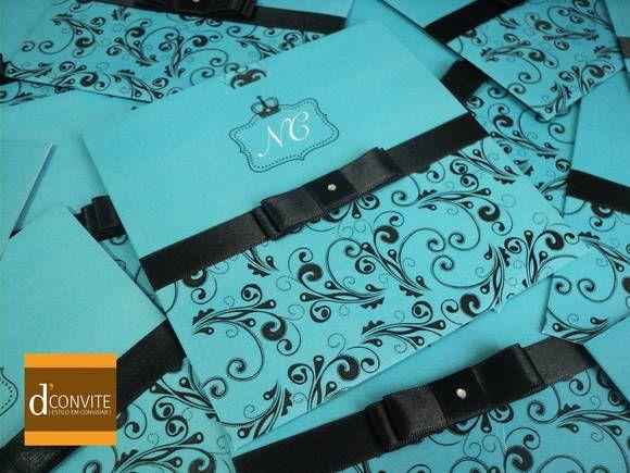 Convite de casamento azul tiffany e marrom
