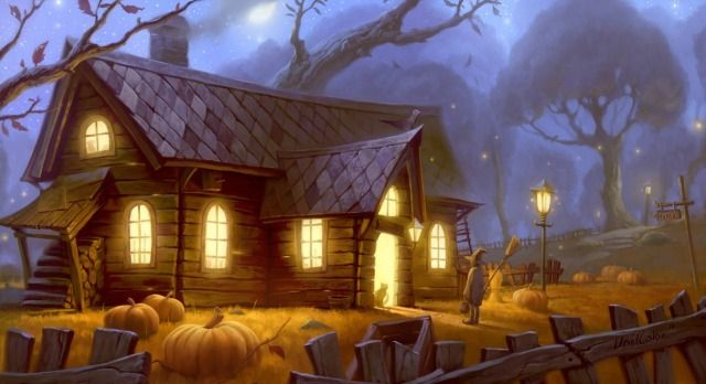 Halloween Picture  (2d, fantasy, illustration, halloween, cute, night, house, glowing, witch, cat, moon, mood, fall)