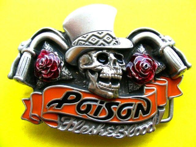 Skull Rose Chopper Bike Poison Rock Band 3d Belt Buckle