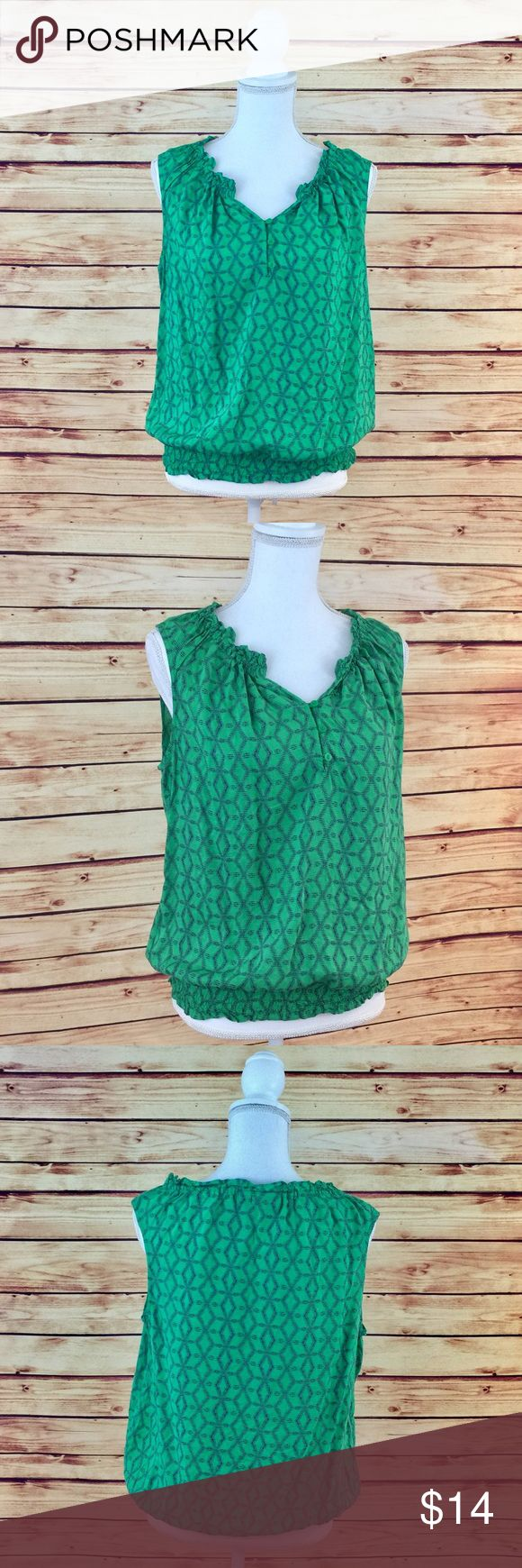 """Make Bundle Offer • a.n.a Green Sleeveless Top ▫️Brand: a.n.a ▫️Size: L ▫️Material: Rayon ▫️Flaws: NONE  ▫️Description:  •Smocked split v-neck  •3 Button Front •Sleeveless  •Navy diamond pattern  •Smocked hem ▫️Measurements Laying Flat: •Chest: 20"""" •Length: 24"""" •Shipping Weight: 4oz  ▪️NO Trade/Hold ▪️Next Day Shipping ▪️Smoke Free/Kitty Friendly Home a.n.a Tops Tank Tops"""