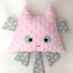 """Doudou - peluche """"chalouche"""" le chat  avec attache tétine - doudou fille - rose pale"""