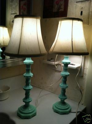 Vintage Pair Jadeite Lamps Lighting Boudoir Bedroom Living Room Etc
