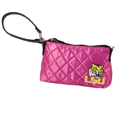 "NCAA Louisiana State University Pink Quilted Wristlet by Little Earth. Save 56 Off!. $8.82. Littlearth's Quilted Collection is the perfect bag for the astute Sports Fan.  This Quilted Wristlet measures 8"" Length x 1.75"" Width x 5"" Height.  Convertible faux leather handle allows purse to be worn as a wristlet or hand-held.  This wristlet features rich satin-like quilting sure to catch the eye of passersby.  Displays embroidered applique of favorite team logo in bottom front right of ..."
