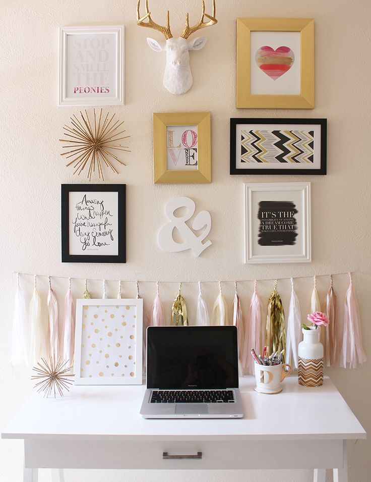 Pink and Gold Office and Gallery Wall Inspiration