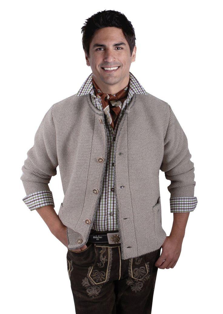 Trachtenjacke Herren Trachten Trachtenjanker Trachtenstrickjacke Beige Braun in Kleidung & Accessoires, Herrenmode, Trachtenmode | eBay