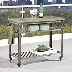 Home Styles Urban Style Aged Metal Outdoor Serving Cart 5570-9513