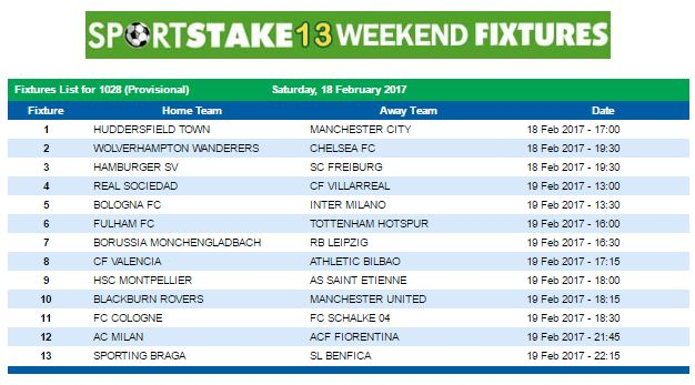 #SportStake13 Weekend Fixtures - 18 February 2017