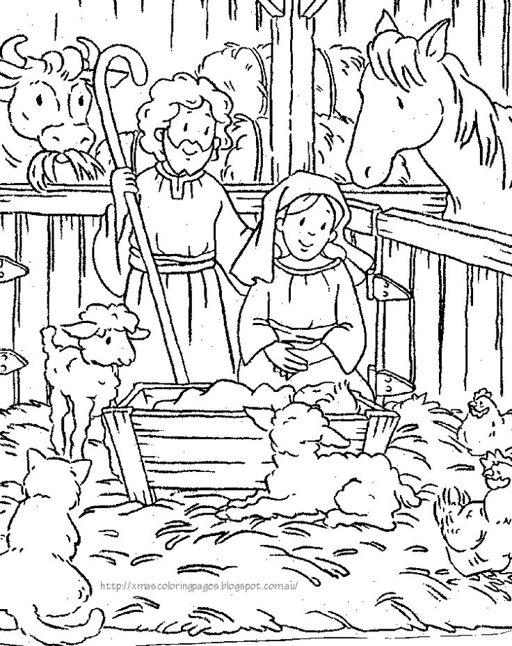 Coloring pages that show the nativity. Some show just Mary and baby Jesus - others show Joseph too and the manger and the wise men etc.