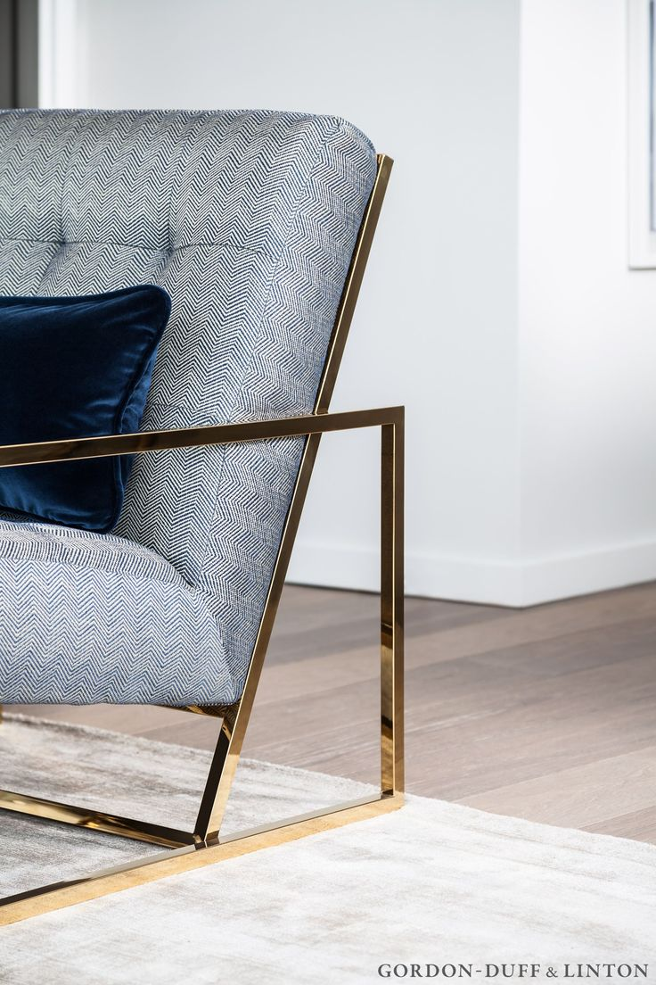 We covered the brass lounge chairs in a blue and white contemporary herringbone with a twist. #GD&LBespokeFurniture