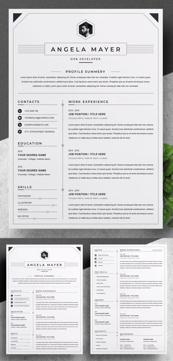 20 Best Simple Clean Resume Templates Resume Design Template