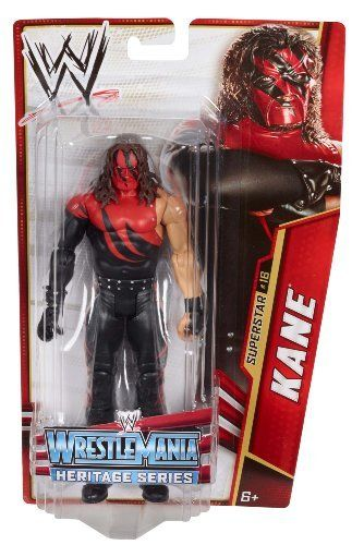 """WWE Kane Wrestle Mania Heritage Figure - Series #26 by Mattel. $17.99. From the Manufacturer                World Wrestling Entertainment Superstar Figure Collection: Bring home the action of the WWE. Kids can recreate their favorite matches with these 7"""" figures created in Superstar scale. Figure offers extreme articulation, amazing accuracy and authentic details like arm bands and tattoos. This WWE Collection line consists of 72 different figures each year, with..."""